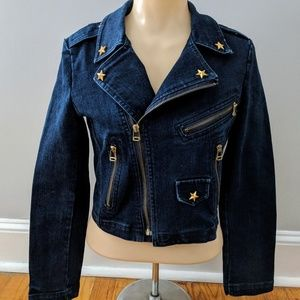 Jackets & Blazers - Blue Denim Gold Star Studded Cross Zip Jacket
